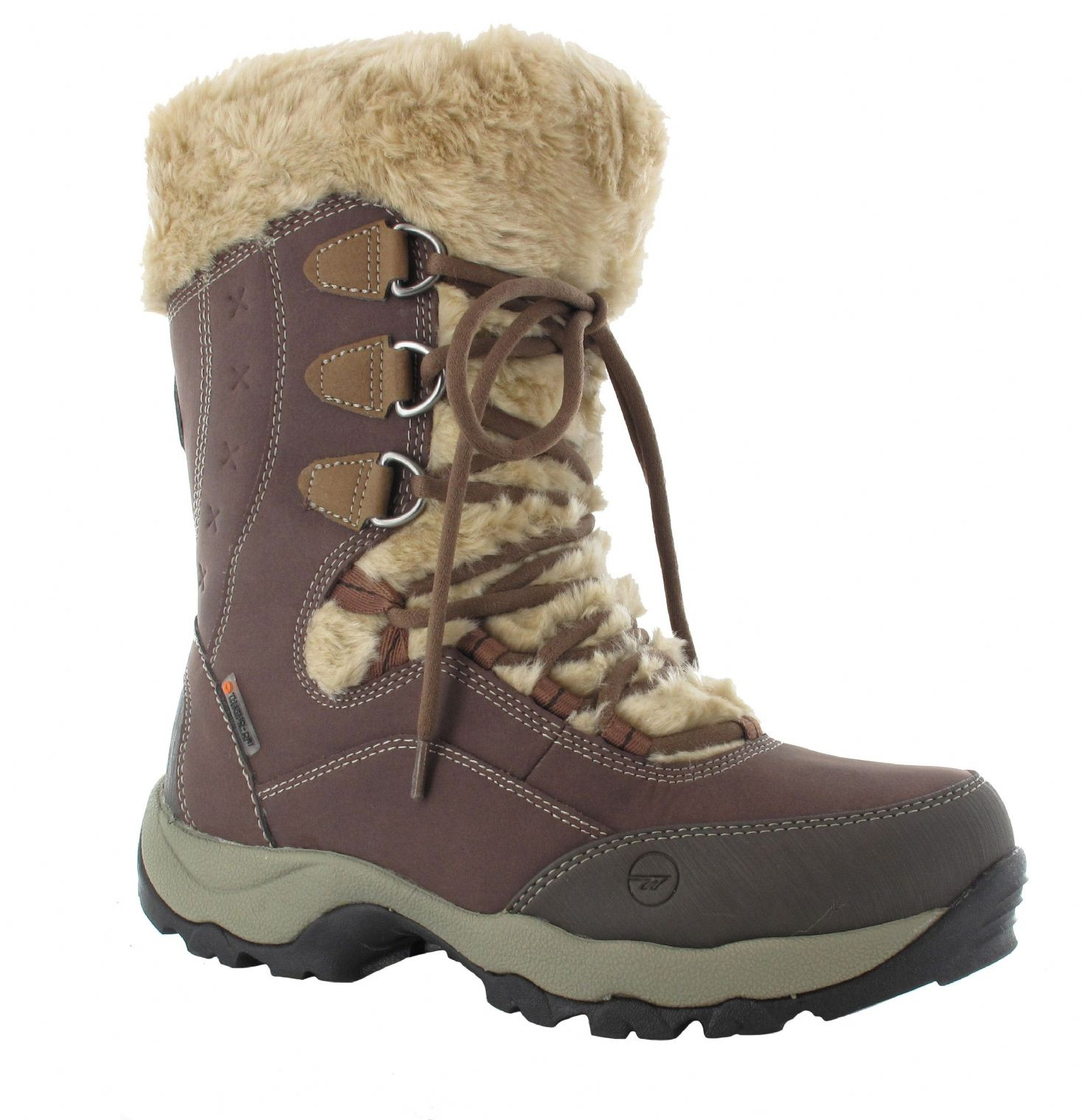 Hi Tec Ladies St Anton 200 Waterproof Thinsulate Snow Boots In Chocolate Taupe